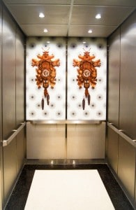 A Photo Of A Custom Elevator Cab Outfitted With Patterned Stainless Steel  Sidwalls, ...